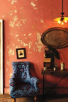 Distressed Paprika walls (great color combo with blue)