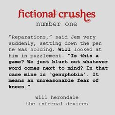 Infernal Devices - Will Herondale. I love him more than I should. and jem i am pretty team jem, untill the second book then i am just totally confused