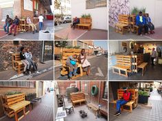 Street artist r1 transformed salvaged wood pallets into mobile pop-up benches in Johannesburg.   What do you think of this concept of recycling wooden pallets?   View more pallet recycling inspiration on our site at http://theownerbuildernetwork.co/x4vr