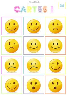 Cycle 1 - (page - Christall'Ecole Smileys, Feelings Preschool, Different Emojis, College Crafts, Sunshine Birthday Parties, Emotion Faces, Feelings And Emotions, Preschool Worksheets, Party Themes