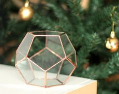 NEW! Little Geometric Terrarium / Dodecahedron / Handmade Glass Planter / Modern Planter for Indoor Gardening / Copper - Silver Terrarium