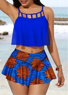 Royal Blue African Print High Waisted Skirted Swimsuit Ruffle Overlay Swimwear Top and Printed Pantskirt African Swimwear, Mode Kimono, Bikini For Women, Women's One Piece Swimsuits, Curvy Outfits, Swim Dress, Lingerie, Swimwear Fashion, Look Fashion