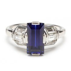 Art Deco Platinum, Synthetic Sapphire and Diamond Ring Sold $8,500