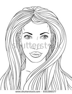 Hand drawn face of beautiful woman with long hair, Vector line art illustration isolated on white background