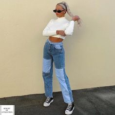 - Patchwork Cargo Jeans - High Waist Straight Leg Pants - 90s Retro Punk Style - Straight Jeans - Buttons with Pockets - Regular Fit - Long Length - Streetwear, Urban Style - Cotton and Acrylic Materials - Softener Fabric - Suitable for ALL Seasons - Comes in Blue, Pink and Purple click to see more. #cutestyle #jeans #jeansstyle #denim #jeansaesthetic #jeansfashion #streetwear #daywear #streetwearstyle #urbanstrretwear #retrojeans #straightjeans #cargojeans Retro Outfits, Mode Outfits, Cute Casual Outfits, Jean Outfits, Fashion Outfits, Ladies Fashion, Outfits With Jeans, Jeans Fashion, Trendy Fashion