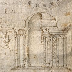 1560s Andrea Palladio Plan, elevation and details of the Round Temple ('Temple of Vesta') in the Forum Boarium, Rome mature handwriting Plan and elevation: ruler and stylus, compasses, pen and brown ink, brush and pale grey wash; details: pen and brown ink, drawn freehand; underdrawing and some calculations in black chalk or graphite; the note at the bottom of the page was added later by Palladio in a darker ink; London, RIBA Library, Drawings and Archives Collection, SC213/VII