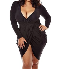 #womensfashion POSESHE Womens Plus Size Deep V Neck Bodycon Wrap Dress with Front Slit: Women's Clothing Center is a… #womensclothing