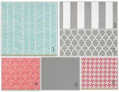 mint and coral nursery   Custom 3 piece Crib Bedding - Mint Aqua Grey Coral ...   Nursery ideas