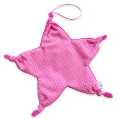 Doudou attache tétine noeud forme étoile coton rose vif à petits pois