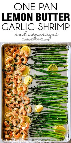 Roasted Lemon Garlic Butter Shrimp and Asparagus (VIDEO!) One Pan Roasted Lemon Butter Garlic Shrimp and Asparagus bursting with flavor and on your table in 15 MINUTES! No joke! The easiest, most satisfying meal that tastes totally gourmet! Fish Recipes, Seafood Recipes, Great Recipes, Cooking Recipes, Favorite Recipes, Healthy Recipes, Keto Recipes, Recipes Dinner, Seafood Dishes