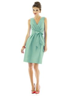 Mint bridesmaid dresses  - MINT BAD, but the dress style is really attractive, probably for just about any body type, with the gathering.