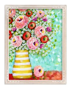 """Daisy Surprise"" - Art Print by Sen Chloe in beautiful frame options and a variety of sizes."