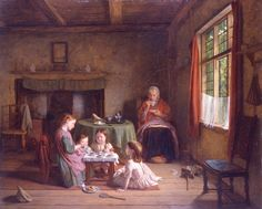 A painting of children playing with a tea set in a poor Victorian home, by Thomas Webster 1862 © Harris Museum and Art Gallery