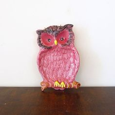 Pink owl spoon rest or catch all #vintage #etsy #owls
