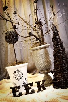 Halloween tree and topiary tutorials  you can find the grapevine trees in craft stores now~~~Christmas decorations are out :)  or  :(