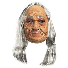 Old Lady Adult Vinyl Full Mask by Disguise