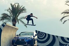 Lexus Hoverboard Slide -Globally renowned pro-skateboarder Ross McGouran takes centre-stage in the campaign, which shows him teaching himself to float on the hoverboard across a sequence of increasingly challenging stunts. The custom-built hover park in Cubelles, Barcelona, includes unique jumps, ramps, bowls, and even a water feature for the hoverboard to glide over.
