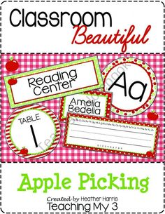 Classroom Beautiful: Apple Picking from TeachingMy3 on TeachersNotebook.com (233 pages)  - classroom decorating decor apple organizer organizing labels