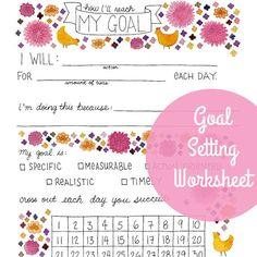 Goal Setting Worksheet  PDF printable instant digital by yardia