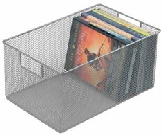 Organize your movie, CD or book collection in this Ybm Home silver mesh storage basket. Made with durable stainless steel with a silvertone finish, this basket is capable of holding multiple hardback