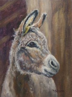 Dolly Oil Painting Pet Portrait Art Donkey Farm Animal, painting by artist Debra Sisson