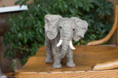 Felt Elephant Sculpture Needle Felted Elephant Needle
