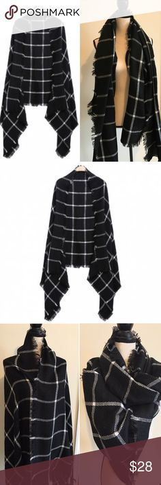 Large plaid scarf | shawl wrap Warm Plaid Tassel Shawl/Scarf Wrap Material: Knitting, great size!! Black & White Pattern: Plaid with fringe Length: 78 inch Width: 35 inch NWOT       🛍BUNDLE & SAVE 15%🛍 ✨TOP RATED SELLER✨ 📦SAME DAY OR NEXT DAY SHIPPING!📦 ❤REASONABLE OFFERS WELCOME❤ ❌NO TRADES OR PAYPAL❌ Accessories Scarves & Wraps
