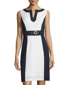 Colorblock+Sleeveless+Sheath+Dress,+Navy/Natural+White+by+Tahari+ASL+at+Neiman+Marcus+Last+Call.