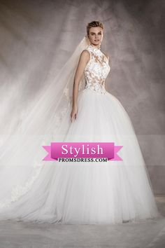 2017 See-Through A Line High Neck Tulle With Applique Wedding Dresses