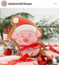34 ideas for cookies decorated baby sweets Pig Cookies, Cute Cookies, Cupcake Cookies, Gingerbread Decorations, Gingerbread Cookies, Christmas Sugar Cookies, Christmas Baking, Piggy Cake, New Years Cookies