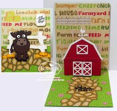 Frances Byrne using the Pop it Ups Barn, Brownie the Cow and Hay There die sets and Farm Greetings Clear Stamps by Karen Burniston for Elizabeth Craft Designs. Also uses Pebbles, Country Fence. Elizabeth Craft Designs May Designer Challenge