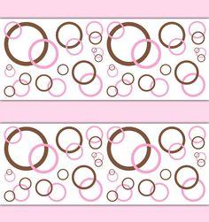 Girl Nursery Polka Dot Pink Brown Wallpaper Border Decals Wall Art Stickers  #decampstudios