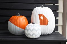 No-carve painted pumpkins for Halloween or Fall