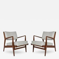 Pair Of Walnut Lounge Chairs By Jens Risom