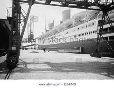 "transport / transportation, passenger ship, ""Bremen"" at Kolumbus Quai, Bremerhaven, 1934, passenger ship, steamer, ocean liner, Stock Photo"