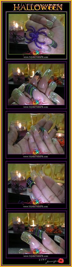 My all-time favorite #nail #art design! #HALLOWEEN #DING #DONG the #Witch is Dead #acrylic #Nails by Jennifer Perez of #Mystic Nails { #Uñas #Diseños }