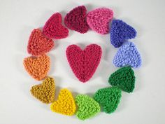 Here's a very quick knitted heart. It's worked in garter stitch in one piece and can be made in all sorts of sizes and with any weight of yarn.