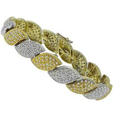 Estate_8.00ct_Round_Cut_Diamond_14k_Yellow_&_White_Gold_bracelet | New York Estate Jewelry | Israel Rose