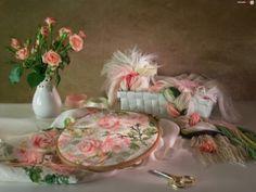 Still Life, bouquet of roses in a vase, embroidery, needlework, modern postcard Rose Vase, Rose Bouquet, Love Flowers, Hobbit, Pretty Little, Still Life, Needlework, Illustration Art, Art Illustrations
