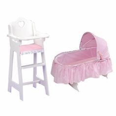 Badger Basket 2 Piece Folding Doll Cradle In Gingham With Doll High Chair  Set