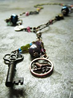 eclectic junk necklace by thatgirlmegan on Etsy, $30.00