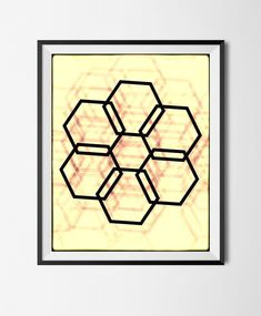 Download Printable Art, Abstract Geometric Poster,Grunge Shapes, Minimalism, Stains,  Digital Manipulated, Texture, Hexagons, Halftone File, by STRNART on Etsy