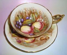 Handpainted Fruit Signed D Jones Aynsley Tea Cup & Saucer
