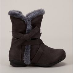 Girls Faux Fur Grey Boots