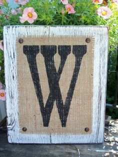 BURLAP Monogram Letter Sign, Home or Wedding SIGN, White, hanging wood monogram, Any letter A-Z on Etsy, $30.00