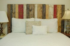 Fall Mix Colors King / California King Headboard made with 4 Barn Wall blocks with vertical slats. Hang them on the wall like picture frames