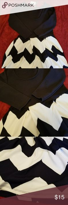 Rue 21 flare out dress Rue 21 flare out dress  Navy blue and white stripes. Navy blue top Size medium  Never worn, NWT Stretchy material. 95% polyester 5% spandex  Arm length: 18 inches  Chest: 15 inches  Waist: 14 inches. All around: 28 inches  Top to bottom: 34 inches Rue 21 Dresses