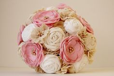 Vintage Bridal Bouquet Fabric Flower Bouquet by bouquets4love