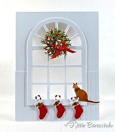 Christmas Window Scene and Mini Wreath Tutorial Homemade Christmas Cards, Christmas Tag, Homemade Cards, Handmade Christmas, Christmas Crafts, Xmas Cards, Holiday Cards, Quilling, Winter Karten