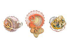 "Laritza Garcia - Spun brooches -   Copper, Sterling Silver, Powder Coat, Steel 2012 approx. 2.5"" x 3"" x .5""- 4""x 3"" x .5"""